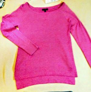 Express pink long sleeve light knit top medium